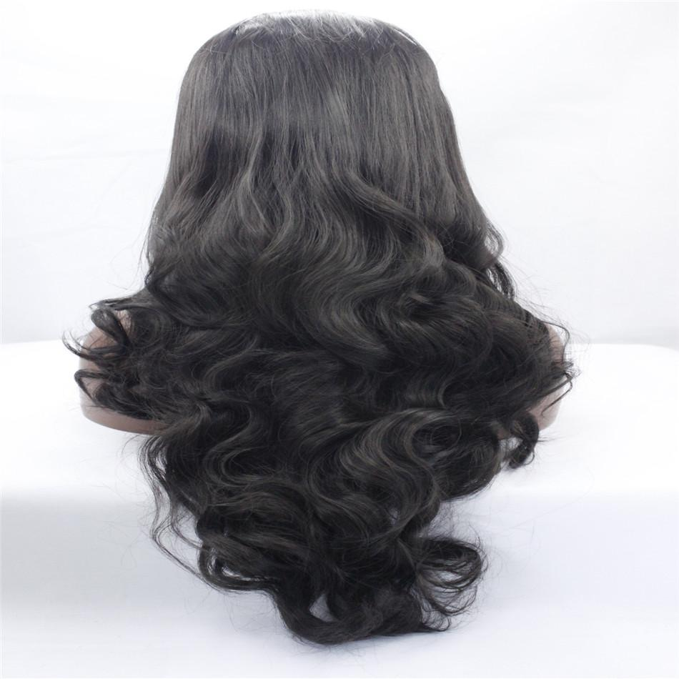 Kabell Moda peruca dianteira do laço perucas de 26 polegadas full-cabeça ondulada 1 # cor natural falso africano Americano peruca kabell perucas de cabelo grande onda penteado