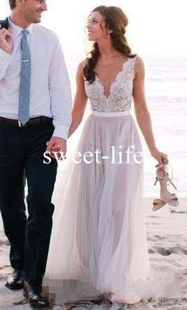 Sexy dos nu 2020 une ligne robes de mariage de plage illusion bijou cou sans manches jupes en tulle à volants Bohomian plus la taille robe de mariée