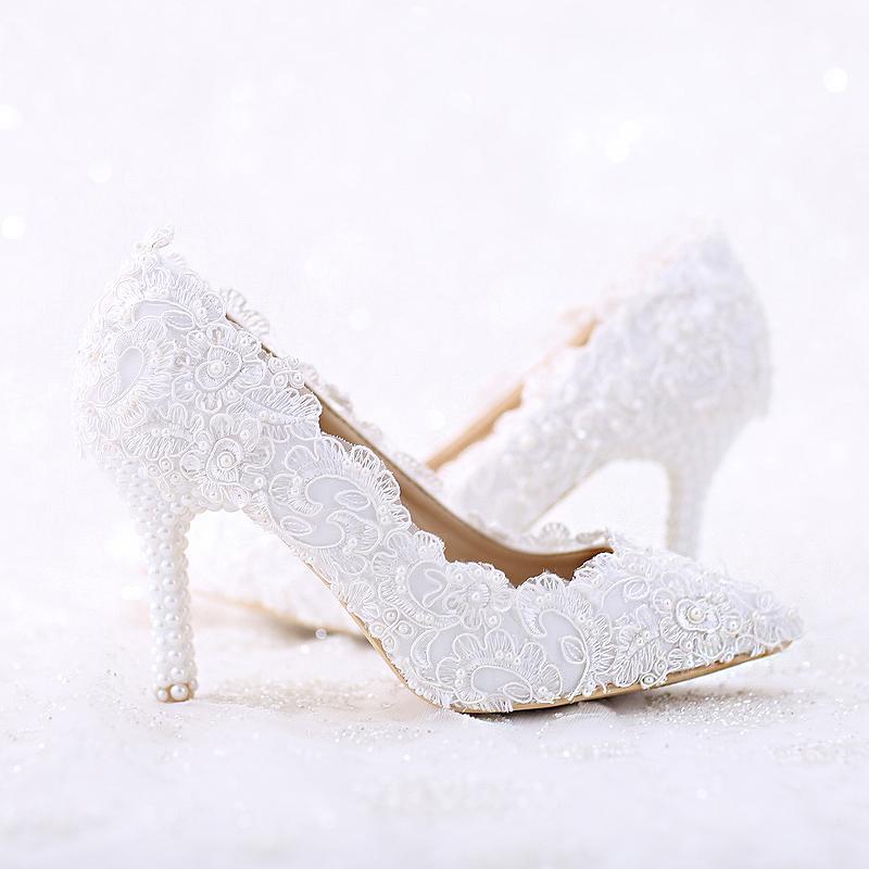 Spitz Weiße Spitze und Perle Braut Hochzeit Schuhe Frauen Dünne Ferse Bequeme Tanzschuhe Handmade Birthday Party Pumps