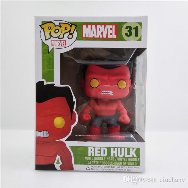Qiuchany FUNKO POP 31# The Avengers Red Hulks vinyl Cute Bobble Head Toys PVC 10cm Action Figure