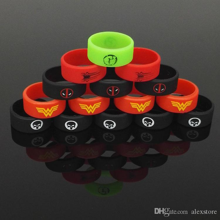 Newest Super Hero Fist Batman Flash Skull Silicone Vape Band Silicon Beauty Decorative Ring for Glass Tanks Rda Atomizer Vape Mod Protection