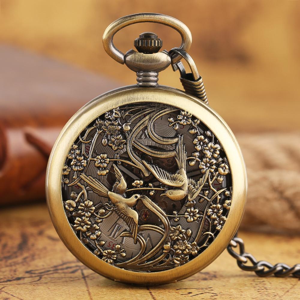 Großhandel Carving Magpie Steampunk Taschenuhr Bronze Automatische ...