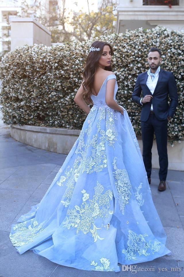 2017 Nova Árabe Vestidos de Baile Céu Azul Tulle Cap Mangas Até O Chão Rendas Apliques Flores Plus Size Vestido de Noite Partido Pageant Vestidos