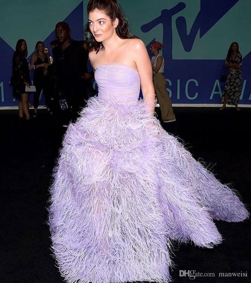 Luxury Feather Evening Dresses Backless Strapless Neckline Prom Ball Gowns Light Purple Formal Red Carpet Dress