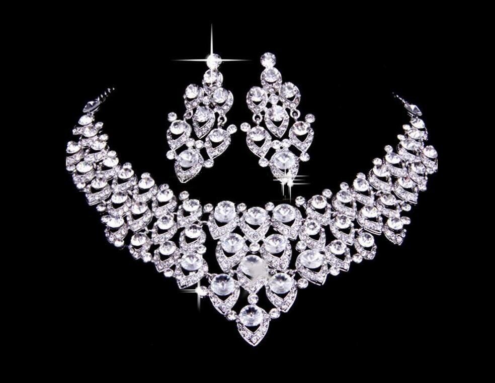 Nupcial do casamento Conjuntos de Jóias Meninas Brincos Colar conjunto de festa de casamento bridalmaid jóias Pedrinhas Acessórios frete grátis HT105