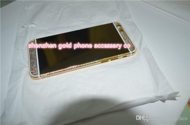 2017 real 24K gold partial DIAMOND crystal Plating Battery Back Housing Cover Skin for iPhone 6 24kt Limited golden crystal with deep