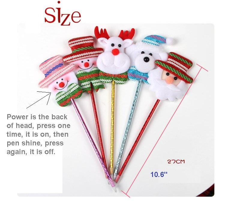 Noel sahne çocuk Hediye Kalemler ile ışık Süs Süslemeleri Ev Festivali mal çocuk oyuncakları hediye kalem, çanta başına 4 adet