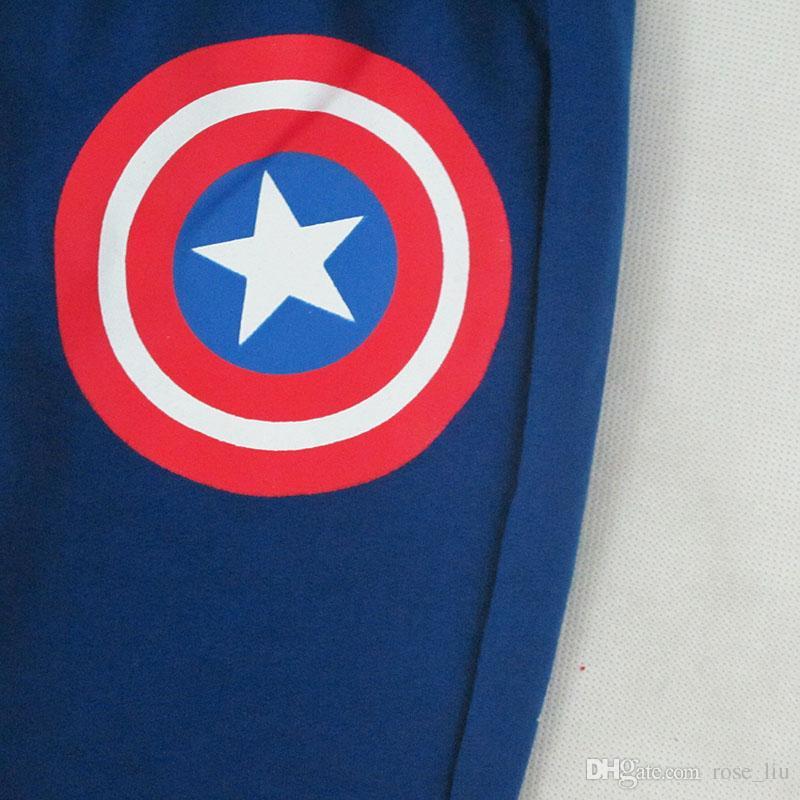 Crianças Capitão América Hoodies ternos DHL 2018 Outono Novo Bebê Meninos Vingadores Superhero cosplay Hoodies Jaqueta calças ternos B