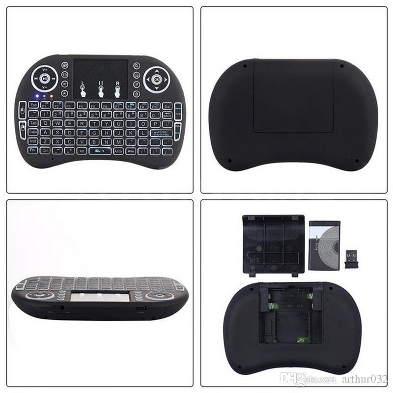 Renkli Arka Işık i8 + Mini Klavye Kablosuz Oyun Klavyeleri PC Mouse için Hava Fare Uzaktan Kumanda Google Andriod TV Kutusu Xbox360 PS3 OTG