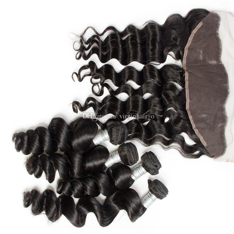 13 * 4 Fechamento Frontal Do Laço Com Bundles Muito 9A Mink Cabelo Humano Brasileiro Onda Solta Com Orelha a Orelha Cheia Do Laço Frontal