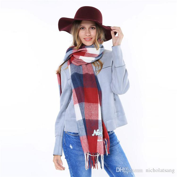 Za la marca Infinity cachemira bufanda a cuadros Diseñador larga manta de invierno abrigo caliente de la borla de la bufanda de cuello verde mantón rojo para las mujeres