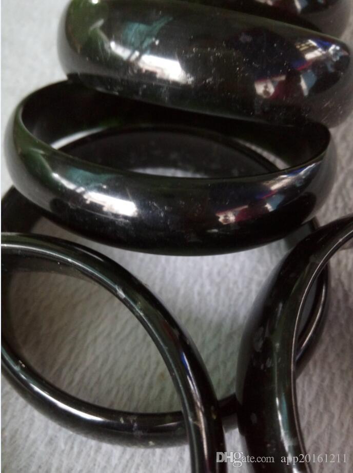 56-62mm Vintage China 100% Grau Natural Um Preto Verde Jade Gems Pulseira Pulseira