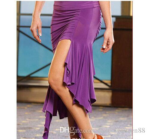 Vestido de baile latino para Lady Dance Latin Dresses Rojo / Negro / Púrpura Vestido De Baile Latino Rumba / Cha Cha / Waltz Ballroom Dance Falda