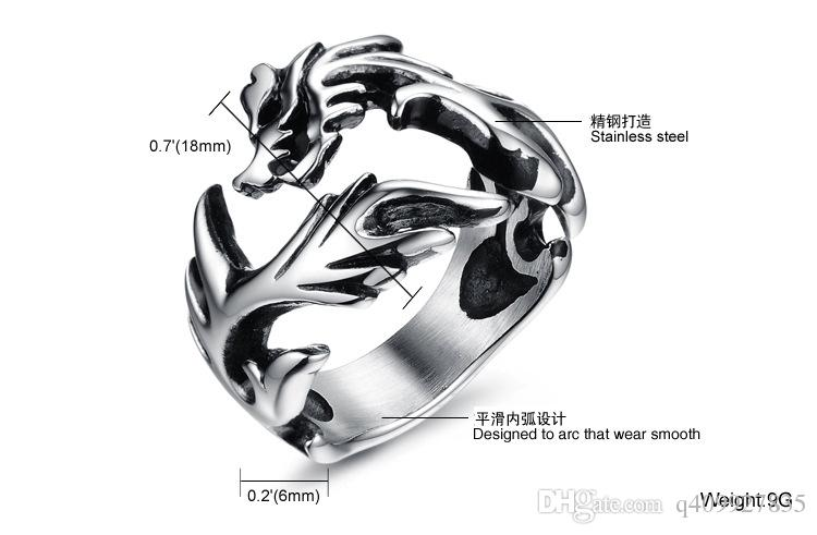 Fashion Day Jewelry Men's Large Stainless Steel Ring Silver Dragon Gothic Tribal Biker Style Polished Jewelry Rings