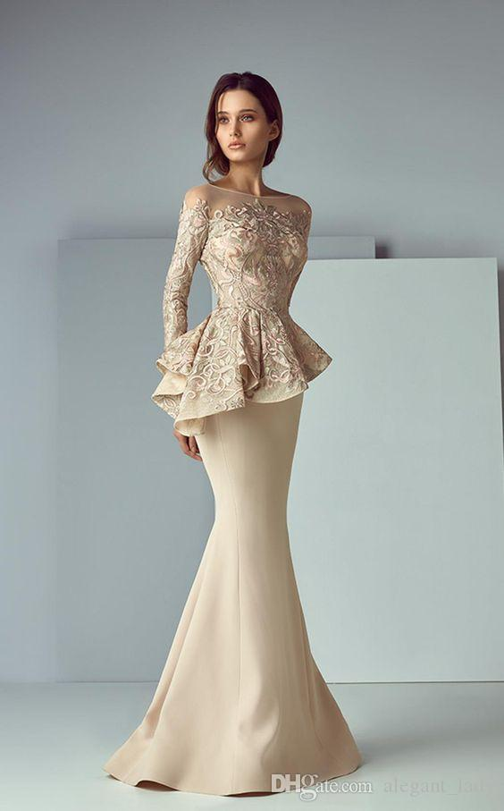Champagne Lace Stain Peplum Noche larga Vestidos formales Vestidos 2019 joya Cuello Manga larga Dubai Árabe Sirena Vestido de fiesta Saiid Kobeisy