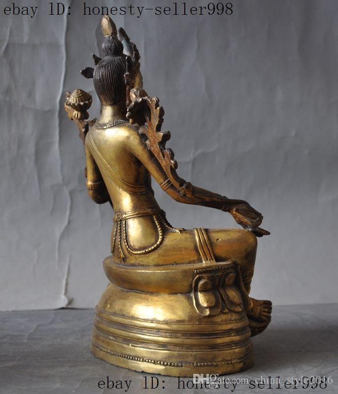 Old Tibet buddhism bronze gilt Green tara kwan-yin GuanYin Goddess buddha statue