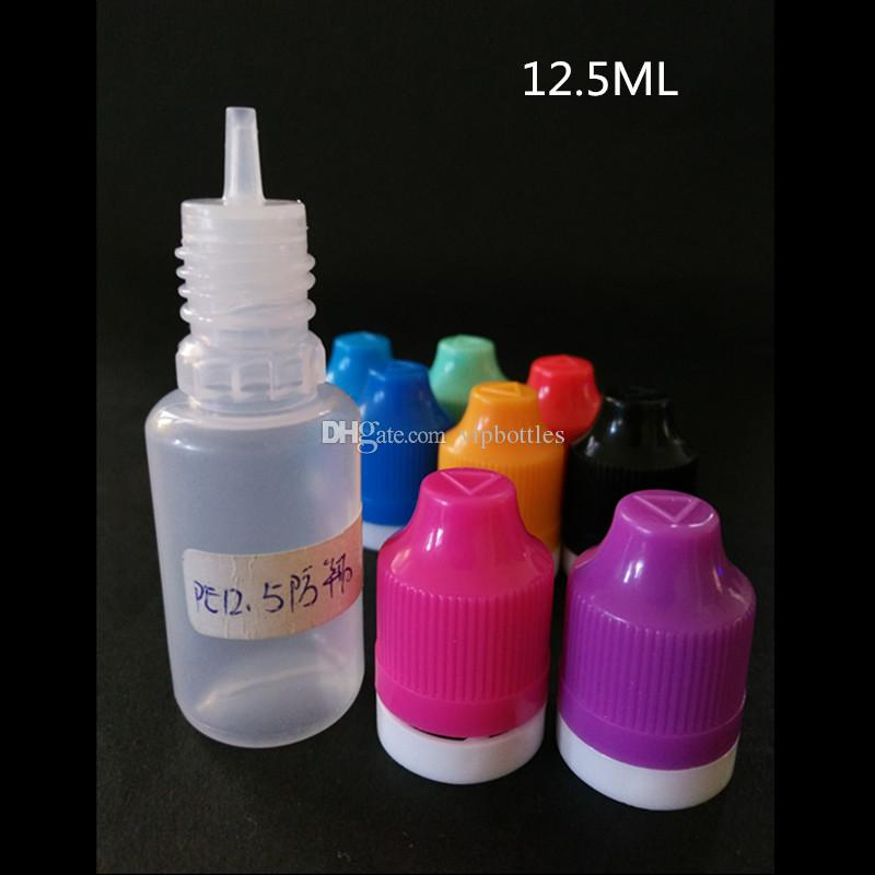 12.5ml tamper proof dropper bottles for ecig liquids safety seal cap soft plastic needle tip e juice 12.5ml ldpe bottles childproof