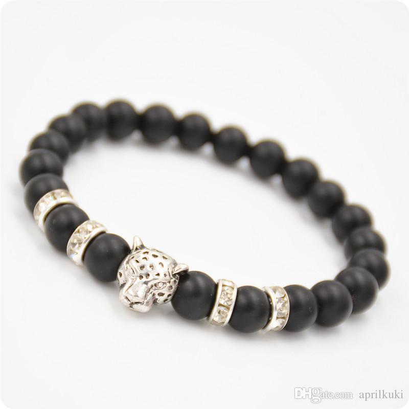 Newest Gold Leopard Men Bracelets Gold Plated Leopard Charm Elastic Bracelet Matte Black Onyx Natural Stones For Women Man Jewelry