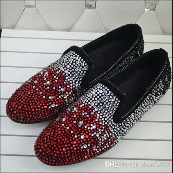 New Arrival Fashion G Z Rhinestone Casual Shoe Colful Crystal Oxfords Mens and Womens Flat Dress Shoes Wedding Party