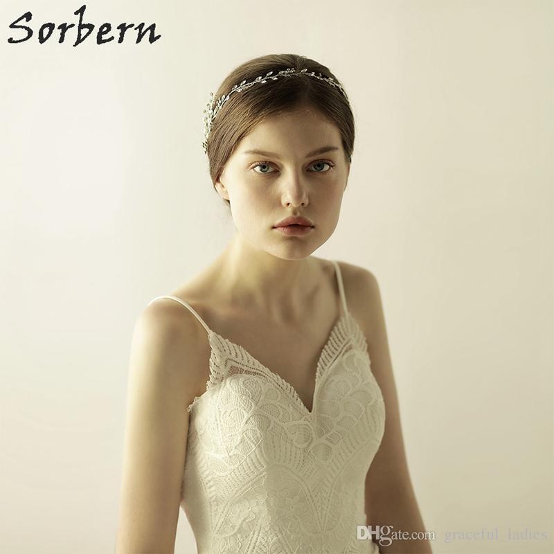 Sorbern superbe or argent strass coiffures de mariage cheveux vigne accessoires à la main bandeau de mariage cheveux bijoux de mariage