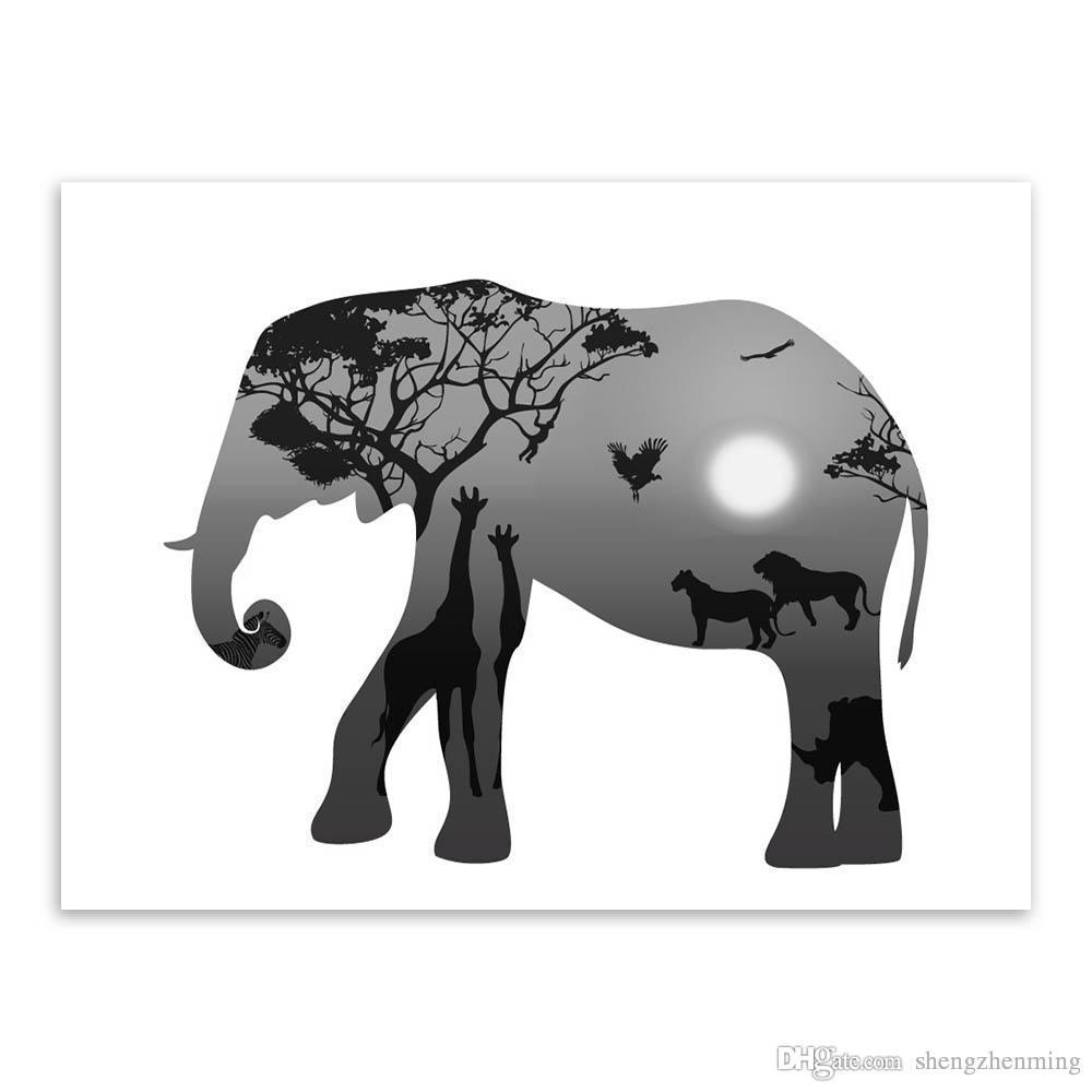 Satın Al Iskandinav Vintage Siyah Beyaz Geyik Kafası Hayvanlar