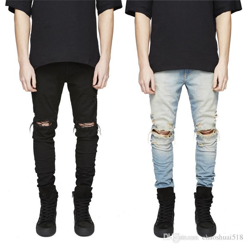 7f452e146a Compre New Slim Fit Jeans Rasgado Homens Hi Street Mens Afligido Denim  Basculadores Joelho Buracos Washed Destroyed Jeans Para Homens De  Chaoshuai518