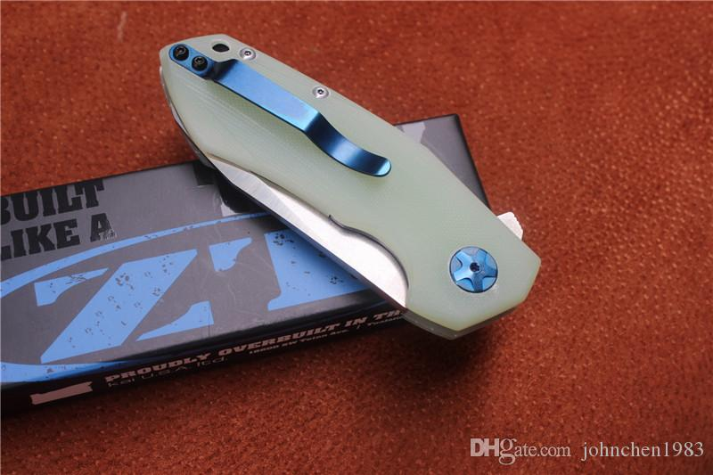 high quality ZT0095 folding knife,blade:D2Stain,handle Jade G10,outdoor camping hunting hand tools,wholesale,gifts