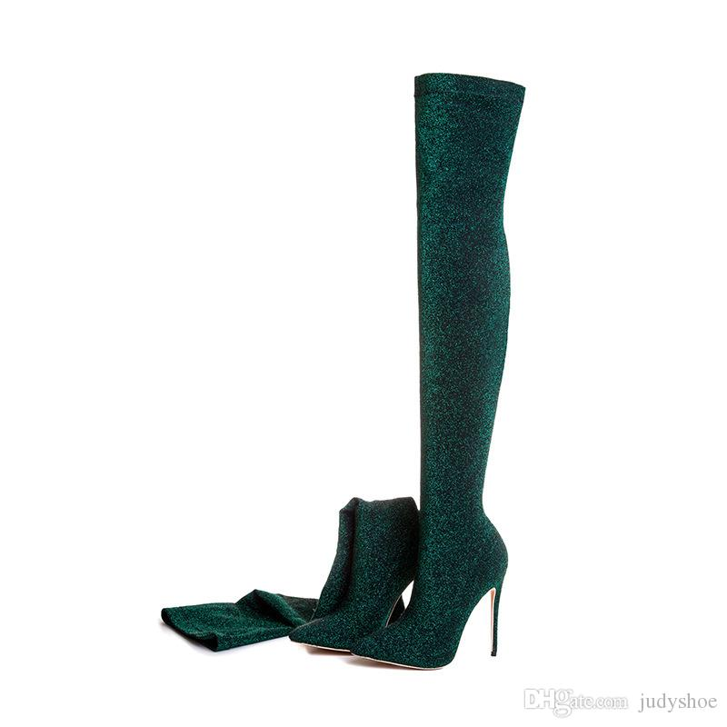 2018 winter purple green boots over the knee thigh high boots bling bling sexy high heels sequined cloths slip on shoes women plus size