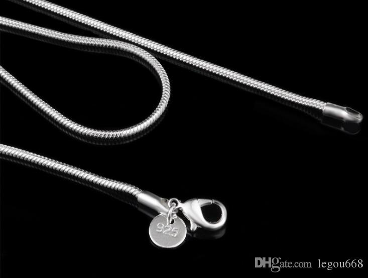 """Retail 925 Sterling Silver 2MM Smooth Snake Chain Necklace fit DIY Pendant Necklace 16""""/18""""/20""""/22""""/24"""" Can Mix Size"""