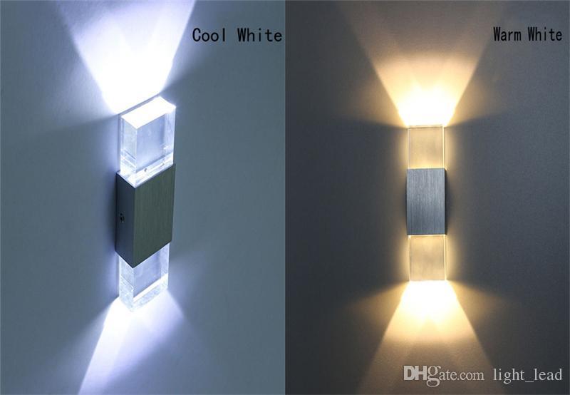 6W Square COB LED Lampada da parete moderna AC85-265V Acrilico alluminio Camera da letto di cristallo Testa Illuminazione interna Decorazione esterna