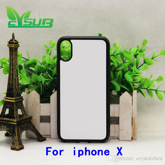 2D Sublimation TPU+pc Rubber case cover for iPhone X cases with plates and glue 20pcs
