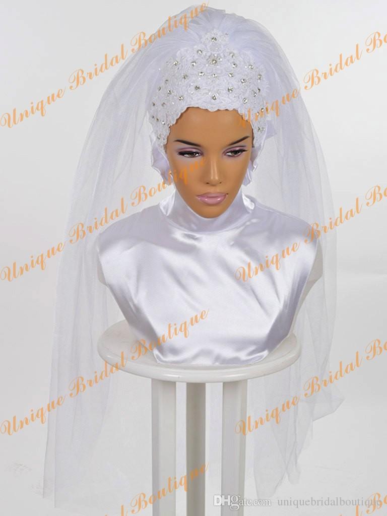 2016 결정과 신부 Hijab Rhinestones and Lace Appliques 세부 정보 실제 그림 진주 흰색 이슬람 웨딩 베일 맞춤 제작