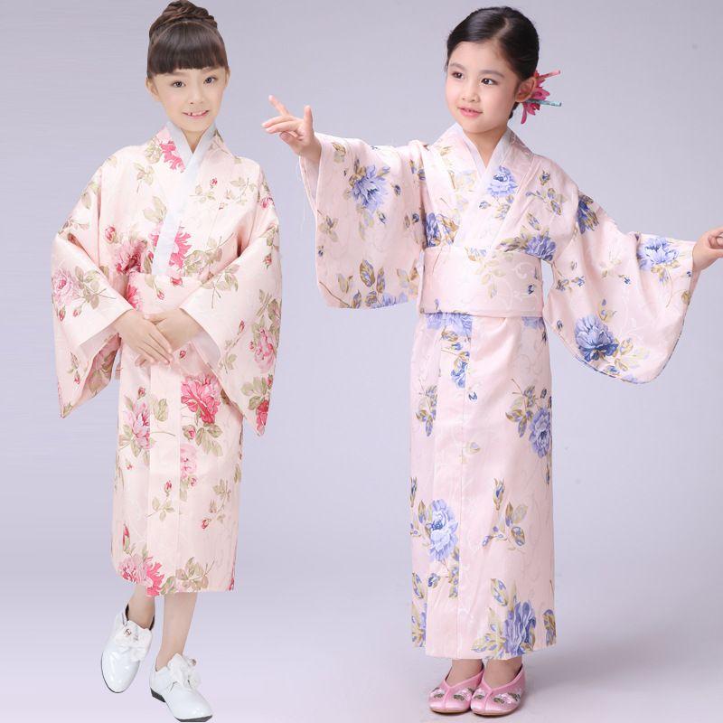 2017 Wholesale Kids Stage Costume Japanese Kimono Samurai Portrait Yukata Dress