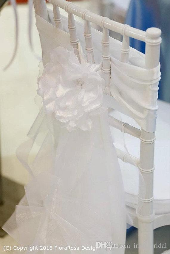 2016 Organza Ruffles Wedding Chair Sashes Vintage Romantic 3D Flower Chair Covers Floral Wedding Supplies Cheap Wedding Accessories
