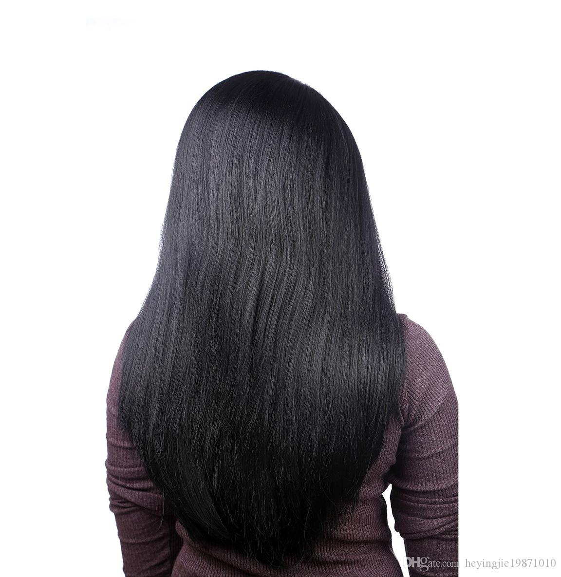 Xiu Zhi Mei 50cm U Part African American Long Straight Black Wig For Girl Heat Resistant Synthetic Women Wigs Natural Hair