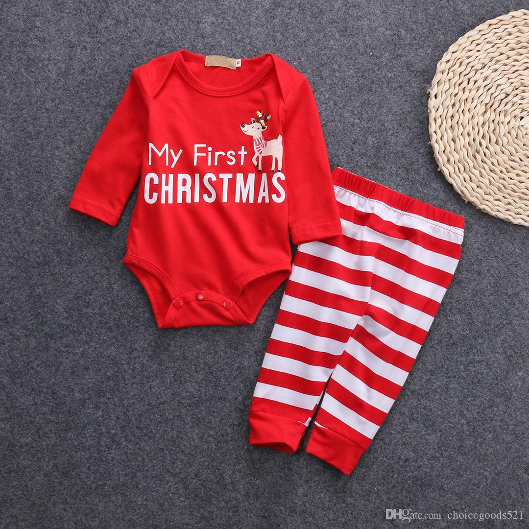 a9d29c6e4 2019 Christmas Xmas Baby Clothing Set Outfits Letters My First ...