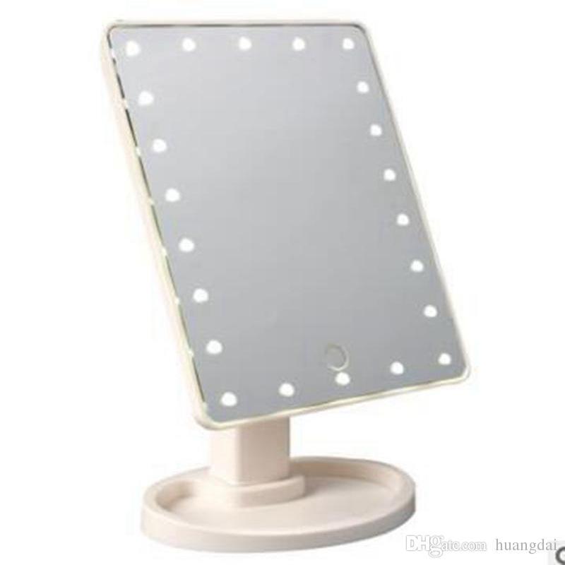 Nuova tasca compatta portatile pieghevole di tocco dello schermo di tocco di rotazione di 360 gradi di trucco con 16/22 luci del LED Caricatore del USB Attrezzo di trucco