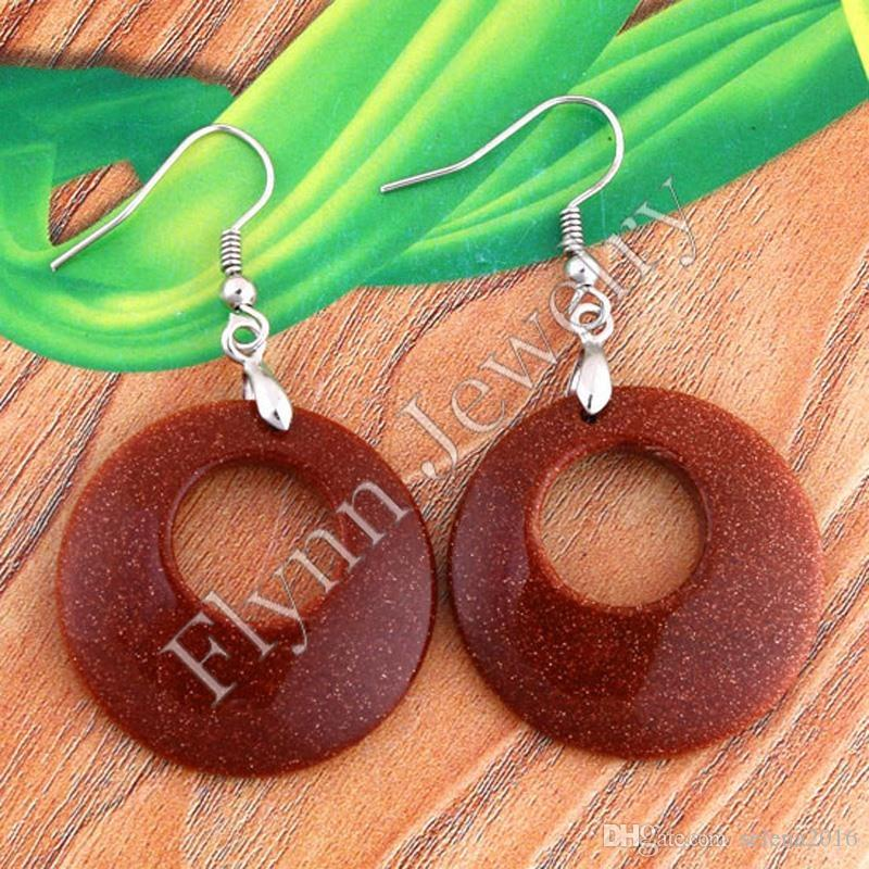 Charm Cabochon Opal Red Agate Natural Stone Round Hollow Drop Earrings Accessories Silver Plated Jewelry