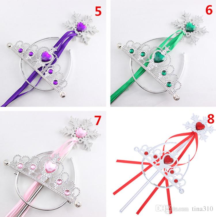 Snowflake ribbon wands crown set fairy wand girl Christmas party snowflake gem sticks magic wands headband crown tiara colorful IB298