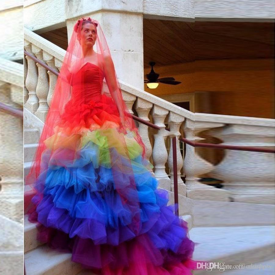 Colorful Wedding Dresses: 2017 Creative Gothic Colorful Bridal Dress Tiered Skirt