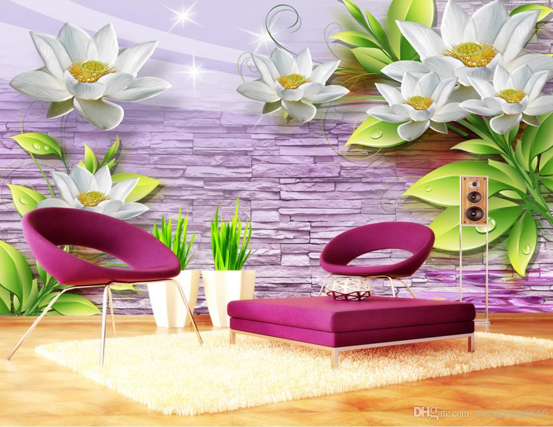 Geprägte Blumen 3D Wallpaper Wände für Wohnzimmer Sofa Schlafzimmer Tapeten Wandbilder Trend Hintergrund Wand