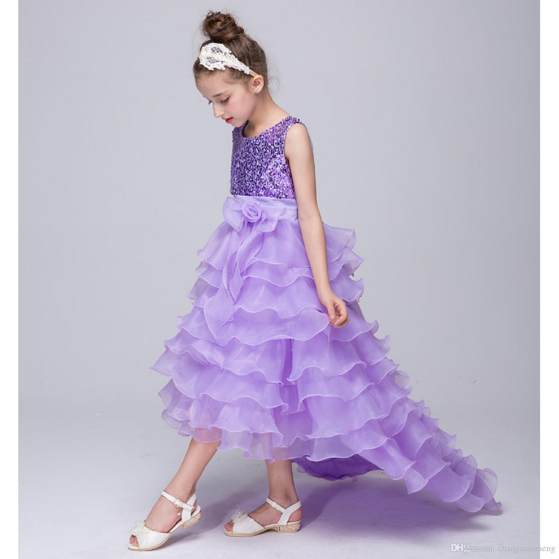 Schöne Blumenmädchenkleider für Hochzeitswettbewerb Pailletten blau rot lila rosa Spitze Kommunion Kleid für Mädchen Junior Kind Kleid