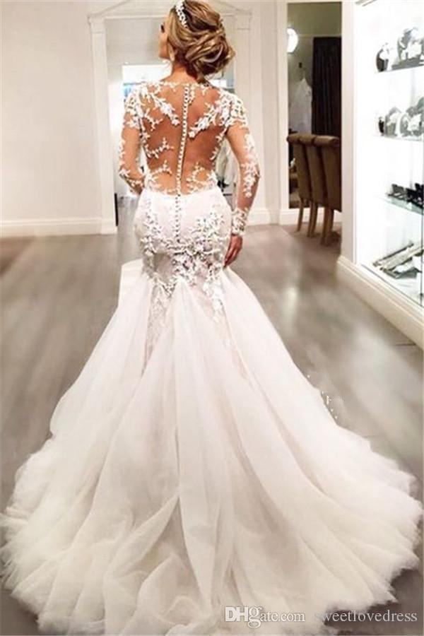2019 Magnifique Dentelle Robes De Mariée Robes Dubai Style Arabe Africain Petite Manches Longues Naturel Slin Sirène Robes De Mariée Plus La Taille