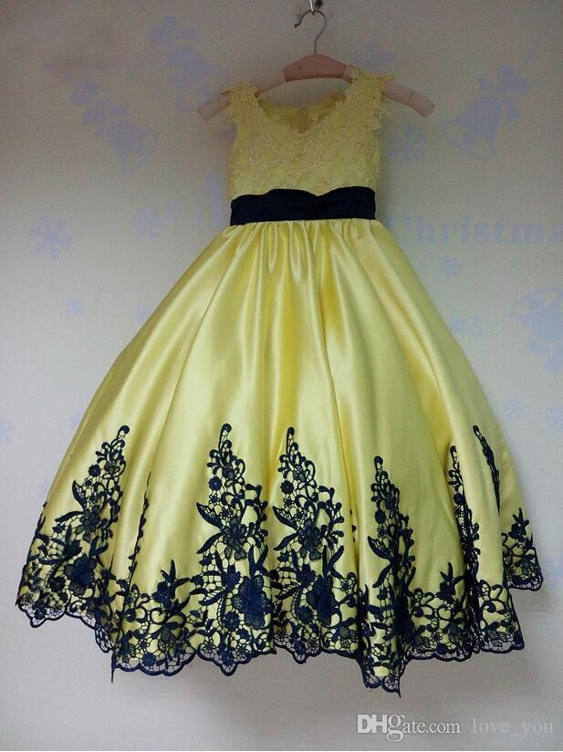 Cute Girls Pageant Dresses Black Lace Appliques Yellow Ball Gown Flower Girl Dresses Toddler Cupcake Girls Pageant Dresses