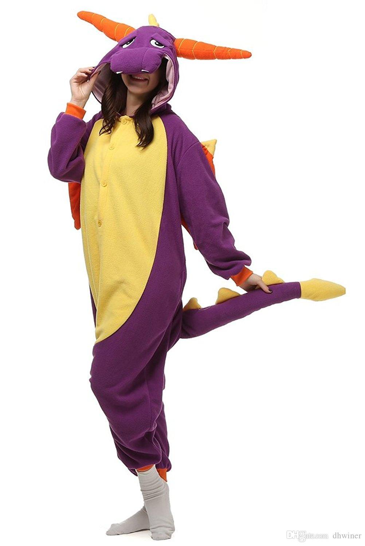 Unisex One Piece Onesie Cosplay Kigurumi Animal Outfit Loungewear Dragão roxo