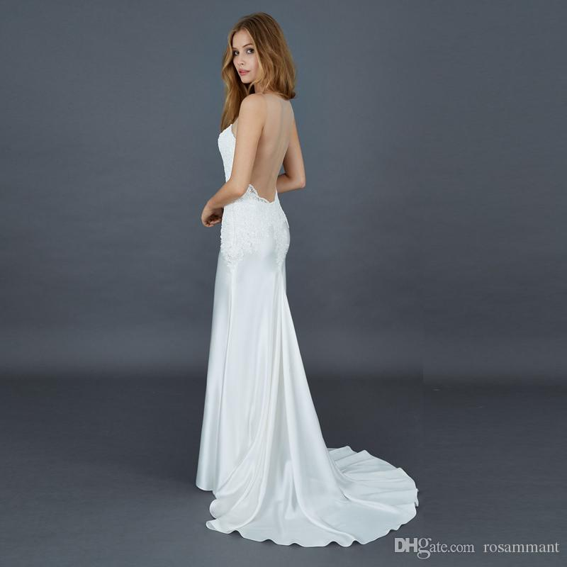 Винтажные 2020 атласные свадебные платья Scoop русалки свадебные платья без рукавов Vestido de Novia Cheap Beach Bridal платье