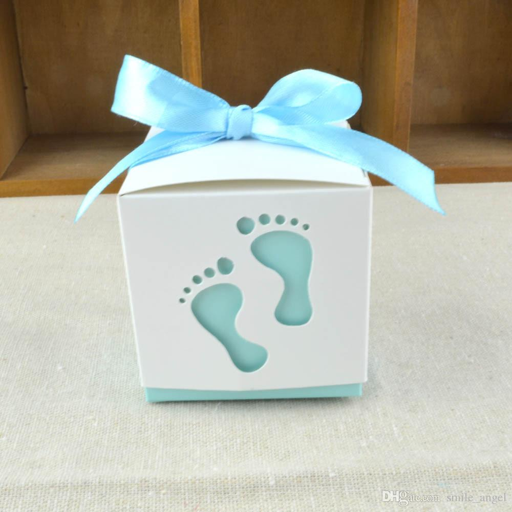 Baby Show Favor Boxes Cute Feet Pattern With Ribbon Bow Decorations Party Candy Box Wedding Gift Boxes Candy Package