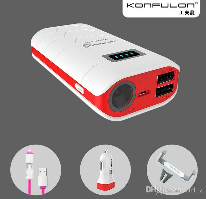 luxury gift konfulon 4 in 1 charging suit 10000mAh Led power bank+car charger+2 in 1 USB cable+cellphone holder for car mount