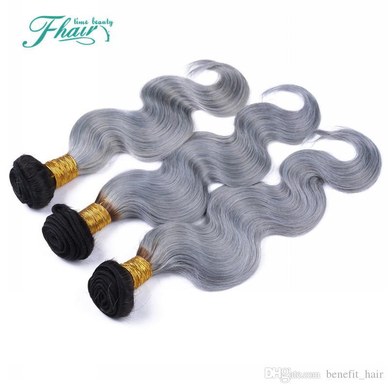 8A 1B / grigio brasiliano fasci di capelli ombre con chiusura in pizzo grigio argento a due tonalità di colore tessuto dei capelli con chiusura body wave 4 pz / lotto