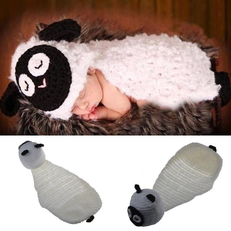 e72b01fa212 Newborn Baby Cute Little Sheep Photography Props Design Hat Newborn Photo  Props Knitted Baby Costume Crochet Baby Cap BP091 Reborn Doll Supplies 18  Inch ...
